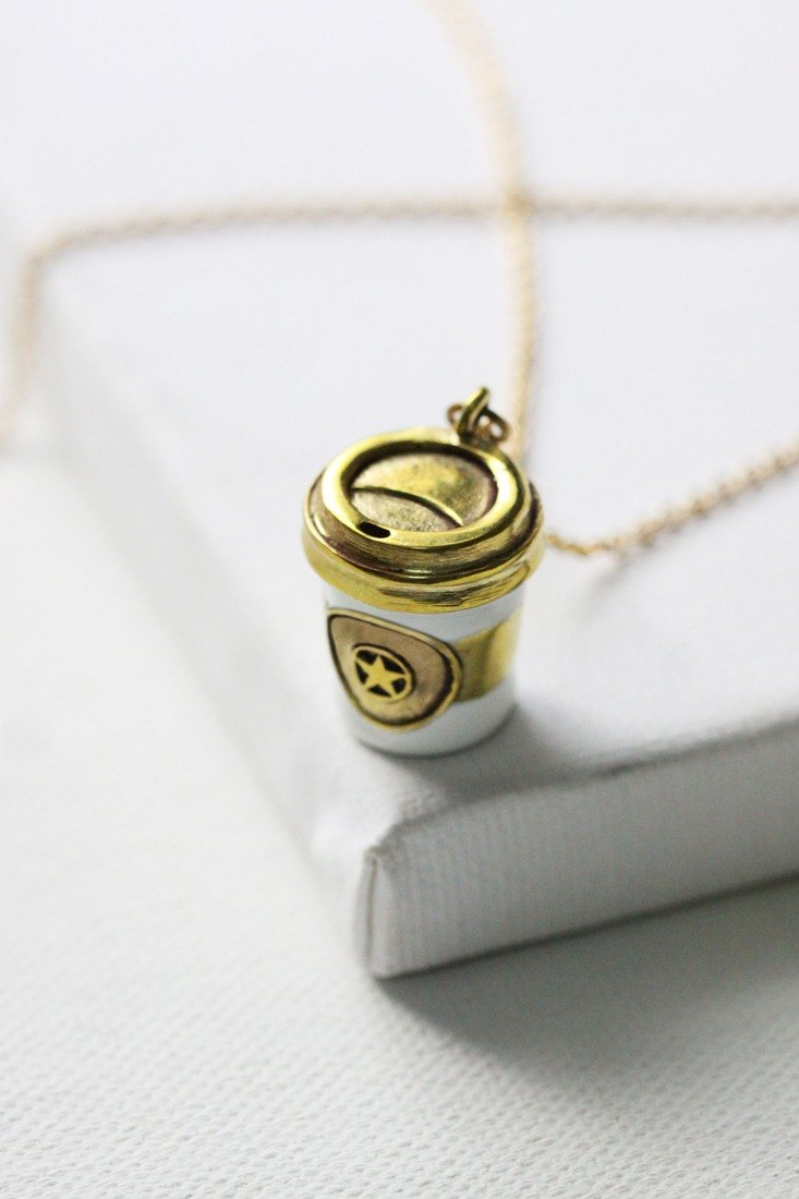 Small Coffee Cup Necklace by linen.