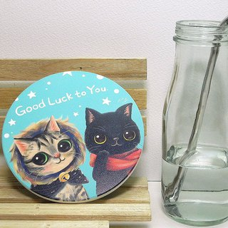 Beautiful lettuce cat ceramic suction cup mat