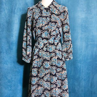 Ping-pong vintage [Vintage dress / blue flowers eight sleeve vintage dress] bring back VINTAGE