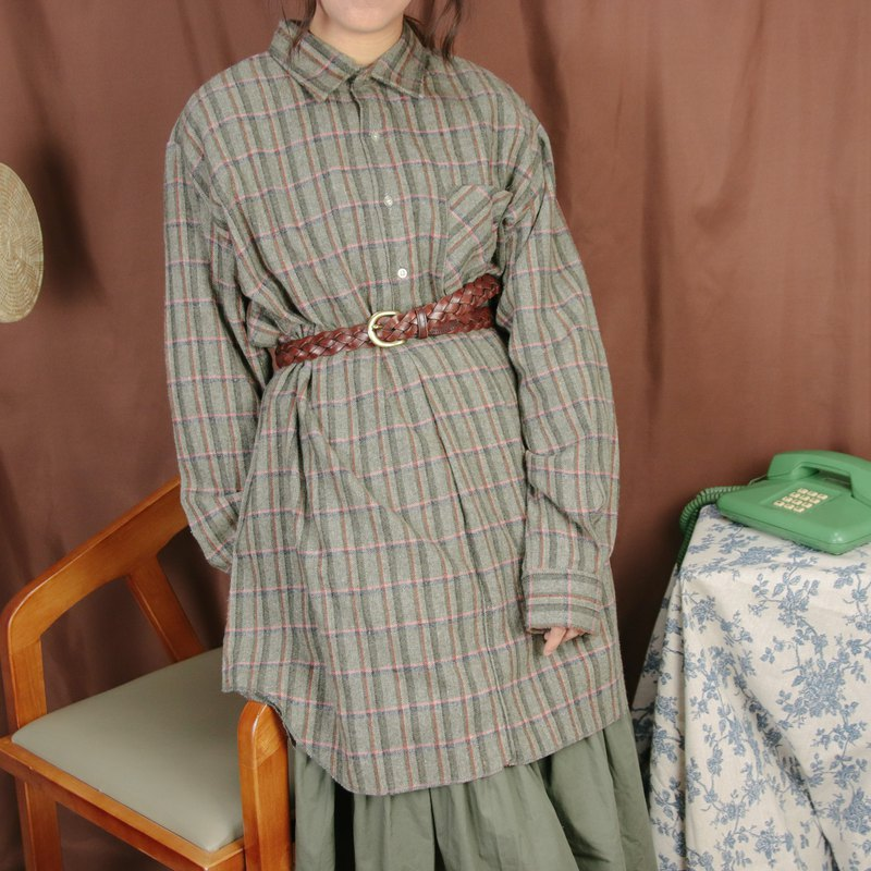 Plaid Long Top 002, Grey Green Cotton Plaid Shirt [Tsubasa.Y 古 着 屋]