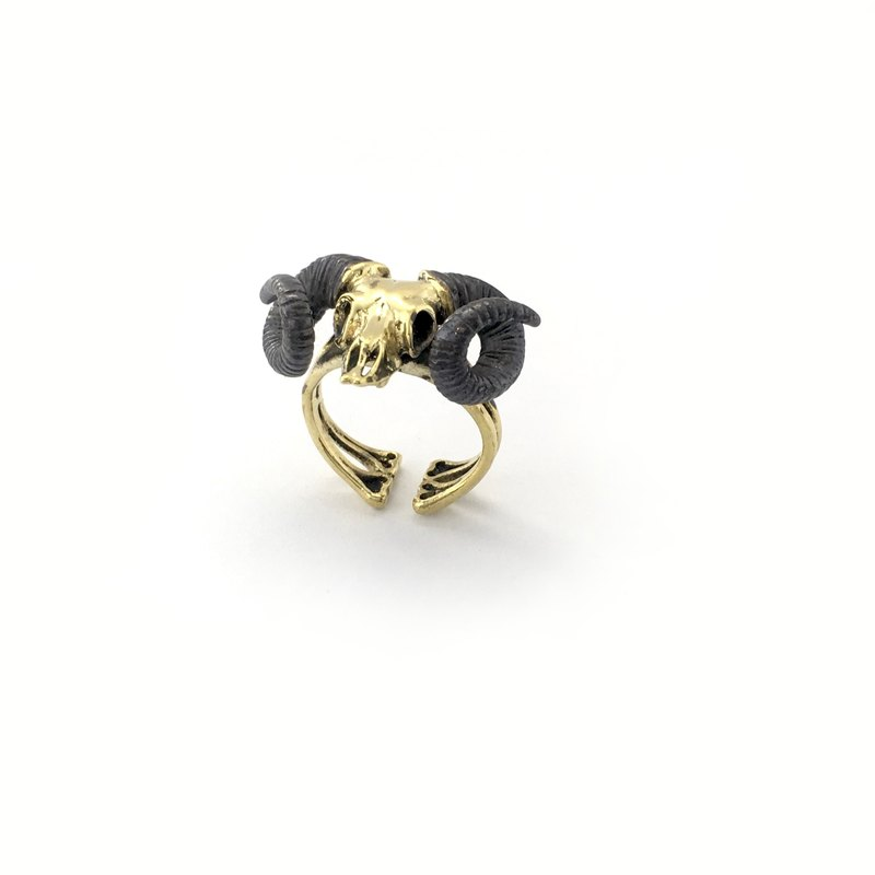 Zodiac Ramble skull ring is for Aries in Brass and oxidized antique color ,Rocker jewelry ,Skull jewelry,Biker jewelry