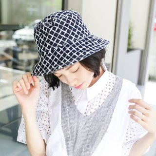 Gentle double-sided fisherman hat series | blue square version