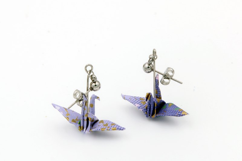 Paper crane earrings. Lavender colored paper