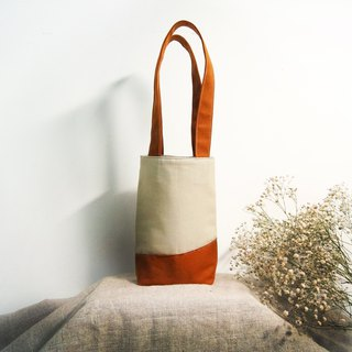 Handmade woody beverage bag (small bag) - caramel brown