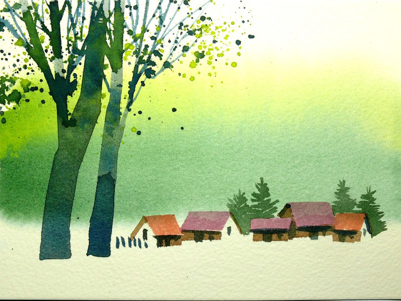 Wenqing Department of Woods Series 593 - Watercolor Hand Drawn Limited Edition Postcard / Christmas Card