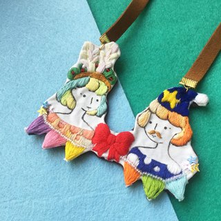 Masquerade party Little One hand-painted +embroidery necklace