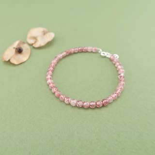 Strawberry quartz Bracelet 925 sterling silver