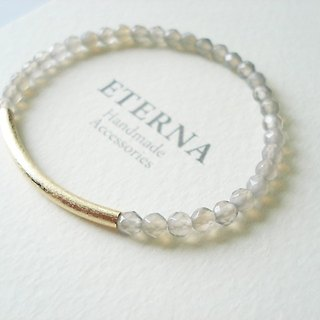 Gray chalcedony with matte gold curved pipe bracelet
