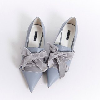 Velvet Ribbon Pointed Leather Heel Shoe Blue