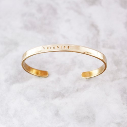 Minimalist Brass Bracelet (single) Customized Hand Knock Letters Anniversary Friends Birthday Gift