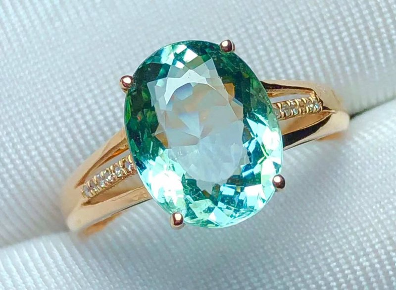 High-end tourmaline high-purity 18k gold diamond ring with certificate