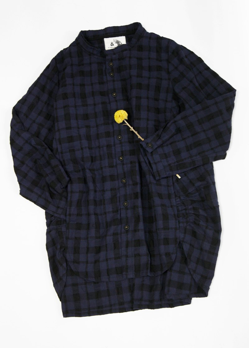 Earth_strata's secret small stand-up collar cocoon shirt