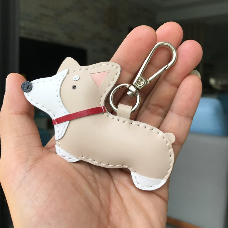 Beige Koki dog hand-stitched leather keychain small size