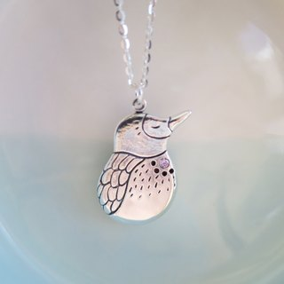 Pink Bubble Birds Silver Necklace