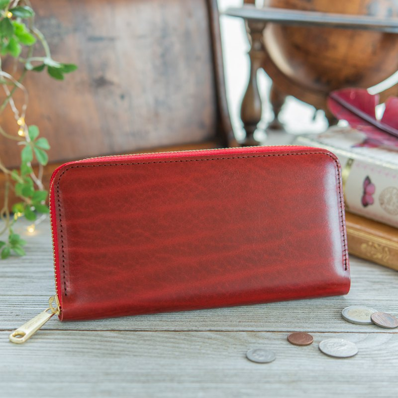 日本製造 牛皮 錢包 Rugato皮革 红色 made in JAPAN handmade leather wallet