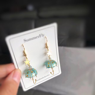 Translucent Blue Green Water Drops Shiny Umbrella Earrings 18k Pack Gold Bow Stars New Year's Eve Blessing