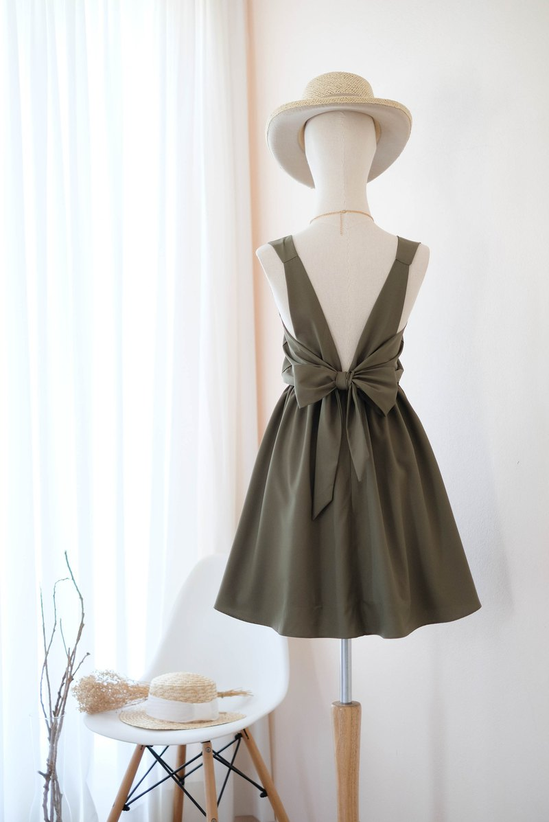 Olive Green Dress Bridesmaid dress backless party Cocktail short dress