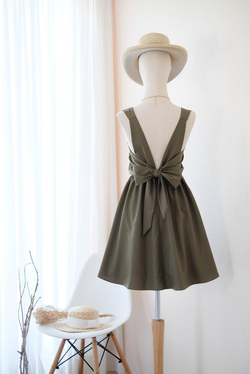 橄欖綠連衣裙伴娘禮服露背派對雞尾酒短禮服