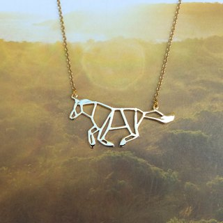 Running Horse, Origami Necklace, Animal Necklace, Gold Plated Necklace, Horse gifts