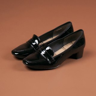 [Rain that scene] small side last PENNY waterproof low with the music shoes - jazz bright black (only 23.5)