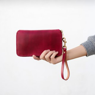 Tangential】 【large leather handmade retro zipper purse lady long folder clutch