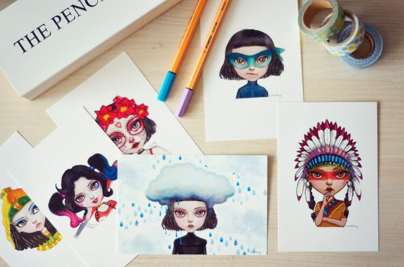 Kiddodog Postcards - weirdo girls set! Set of 6 postcards