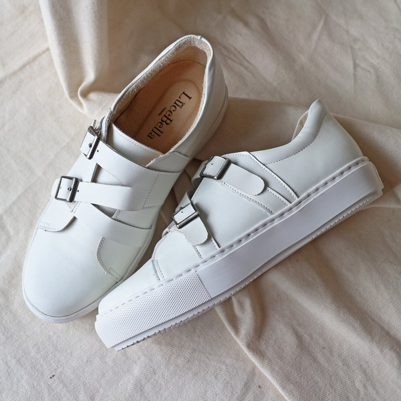 【Criss cross】Platform Casual Shoes - White