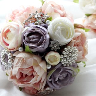 Jewelry Bouquet [Simulation Flower Series] smoked pink peony flowers