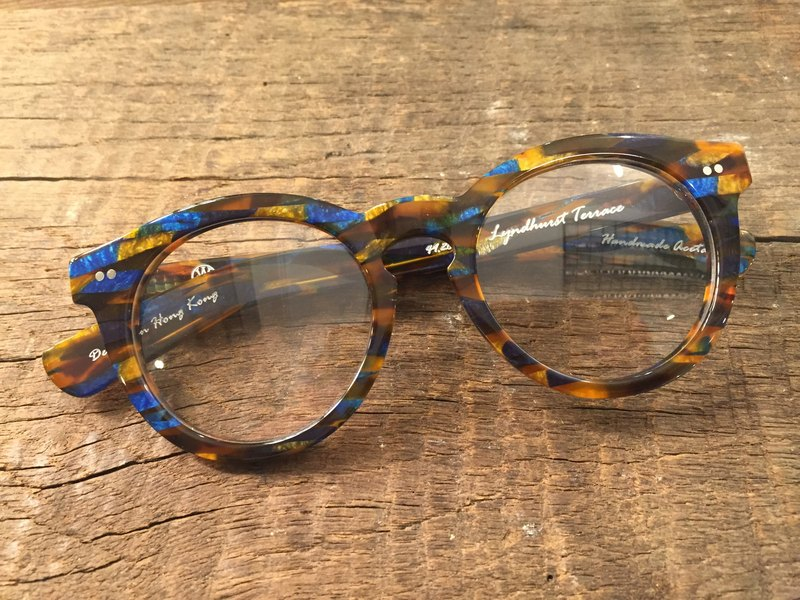 Absolute Vintage - Lyndhurst (Lyndhurst Terrace) circular thick-framed glasses, plates - Tort Blue blue brown color mixing