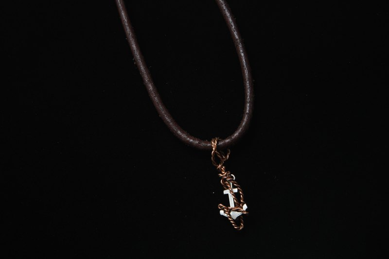 【Series of copper】Sterling silver anchor with copper rope.