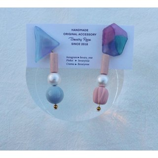 Aurora morning series hand-painted asymmetric beaded earrings pure silver ear needle
