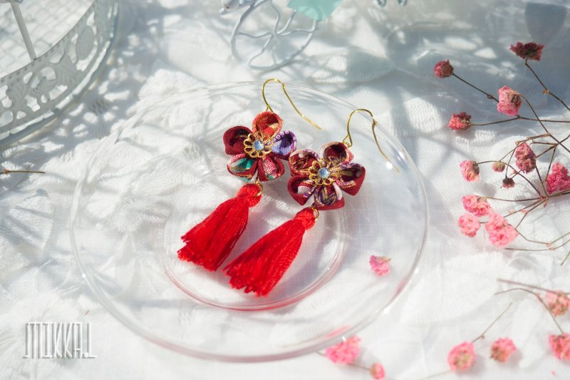Hand-made, multi-color plum blossoms, flowers, tassels, earrings