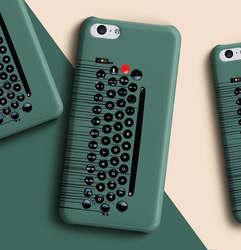 Type writer type pad - Green Phone case