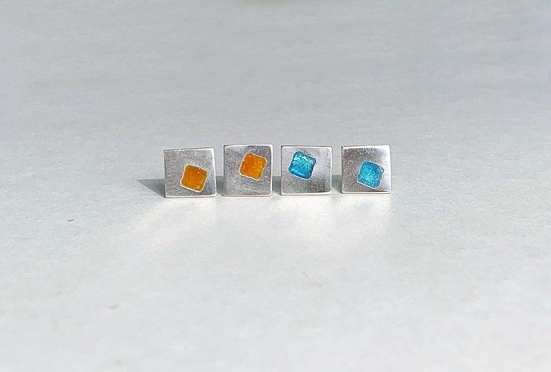 純銀方形珐瑯耳環-一對