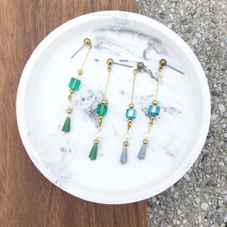 Laolin groceries Travelin-hand made brass earrings glass cone ear hook l ear pin l ear clip