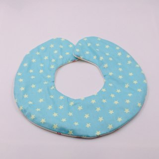 Blue bottom star round bib double yarn saliva towel Mi Yueli