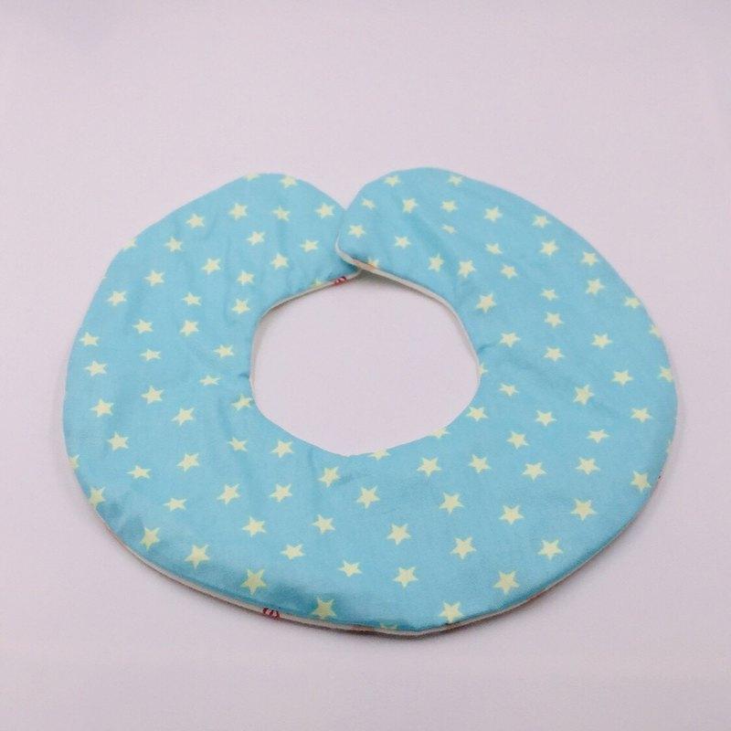 藍底星星圓形圍兜 二重紗 口水巾 彌月禮