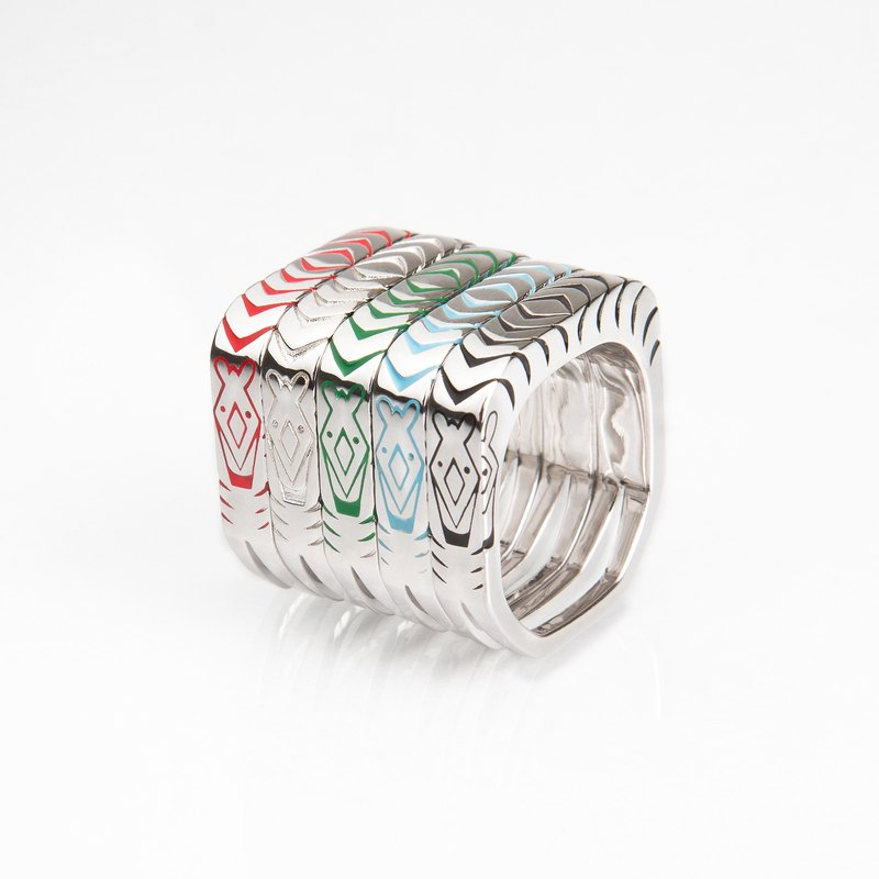 Line Zoo Series Zebra Family 925 Silver Simple Standing Ring