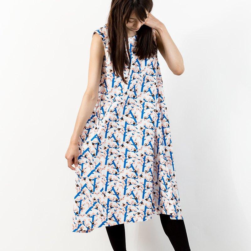 無袖一件式連衣裙猴子和桃子
