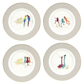 Sara Miller London Piccadilly Collection Cake Plates Set of 4