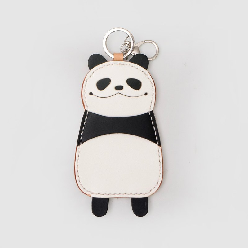 JulyChagall hand-stitched tanned leather black and white hit color Panda Dachka package key chain