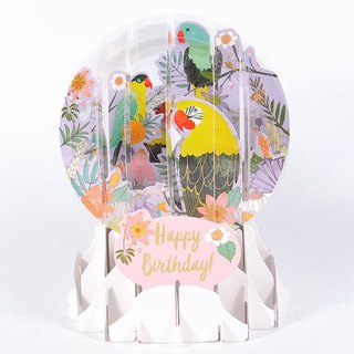 Snowball Card - Parrot is singing [Up With Paper - Birthday Card Blessing]