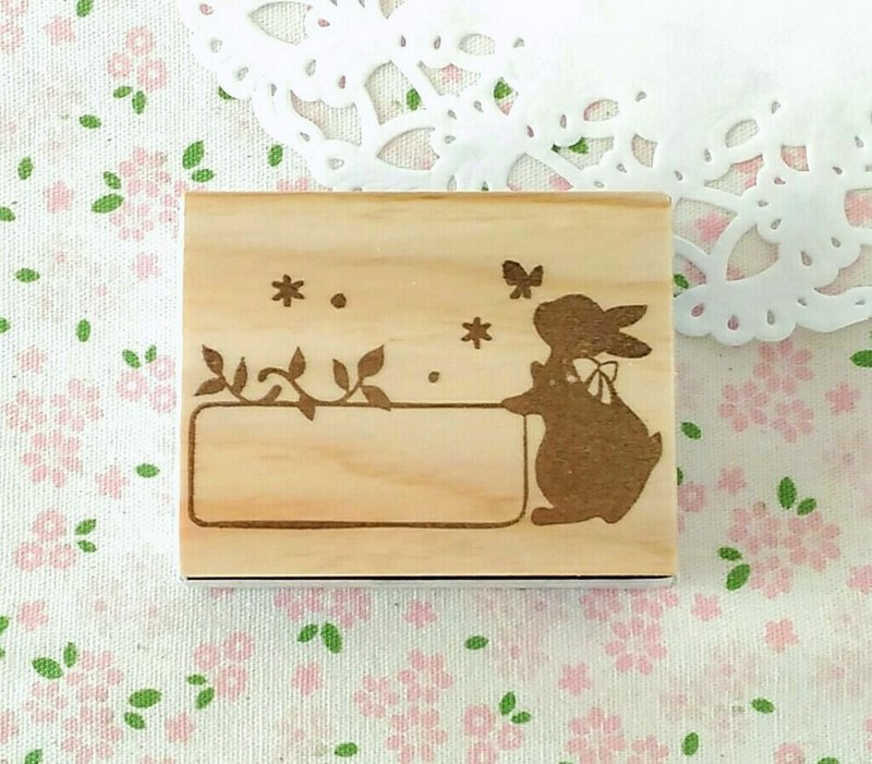 Rabbit's small frame,eraser stamp,handmade