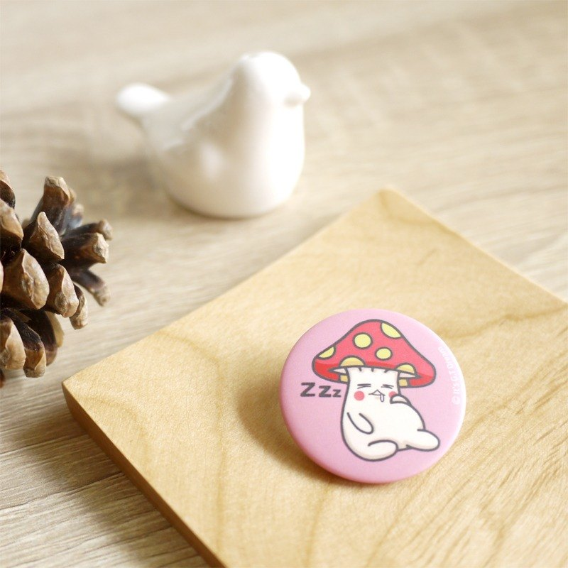 Mushroom Rabbit - Mushroom Love Sleepy - 32mm Round Magnet Badge (Fog)