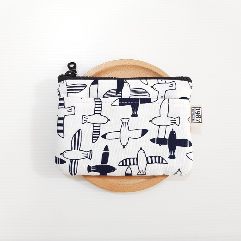 [Flying Bird - White] Coin Purse Clutch Carrying Zipper Bag Christmas Exchange Gift