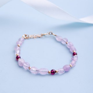 Amethyst, Red garnet, 14K Gold Filled Natural Gemstone Crystal Bracelet