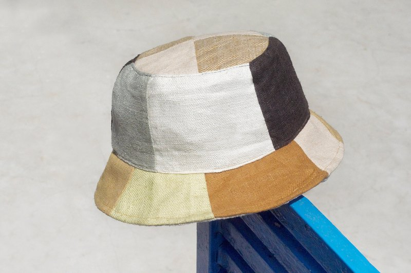 Valentine's Day Limit A fresh forest wind splicing hand-woven cotton hat / fisherman hat / sun hat / patch cap - caramel latte coffee hit color stitching design wind