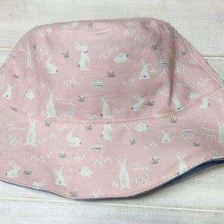 Pink Bunny Cowboy Blue Double Sided Fisherman Hat/ Visor