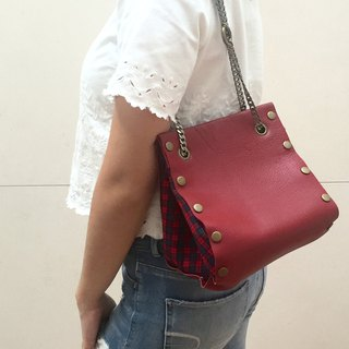 Small Create-your-own Cube Bag with red leather