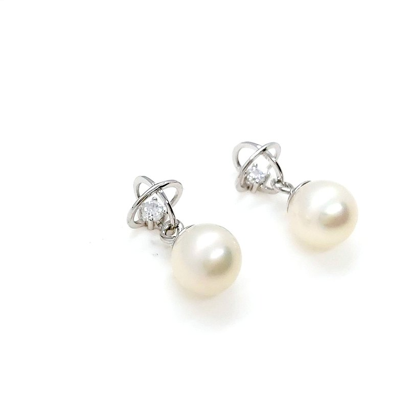 Planet Freshwater Pearl Sterling Silver Earrings